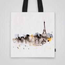 Дизайнерската чанта от плат Гледка към Айфеловата кула е ушита индивидуално за вас - лека, сгъваема, разпознаваема дамска чанта или удобна чанта за пазар.