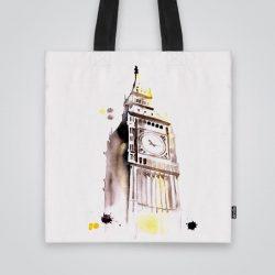 Дизайнерската чанта от плат Гледка към Биг Бен е ушита индивидуално за вас - лека, сгъваема, разпознаваема дамска чанта или удобна чанта за пазар.