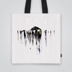 Дизайнерска чанта от плат Градски етюди се шие индивидуално за вас - лека, сгъваема, разпознаваема дамска чанта или удобна чанта за пазар.