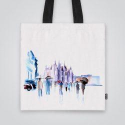 Дизайнерска чанта от плат Градски сенки се шие индивидуално за вас - лека, сгъваема, разпознаваема дамска чанта или удобна чанта за пазар.