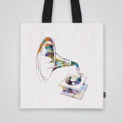 Дизайнерска чанта от плат Грамофон се шие индивидуално за вас - лека, сгъваема, разпознаваема дамска чанта или удобна чанта за пазар.