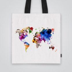 Дизайнерска чанта от плат Карта на континентите се шие индивидуално за вас - лека, сгъваема, разпознаваема дамска чанта или удобна чанта за пазар.