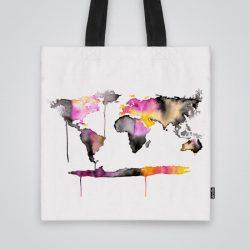 Дизайнерска чанта от плат Карта на света в черно и розово се шие индивидуално за вас - лека, сгъваема, разпознаваема дамска чанта или удобна чанта за пазар.