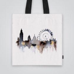 Дизайнерската чанта от плат Лондонското око е ушита индивидуално за вас - лека, сгъваема, разпознаваема дамска чанта или удобна чанта за пазар.