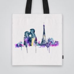 Модерна чанта от плат Любов в Париж се шие индивидуално за вас - лека, сгъваема, разпознаваема дамска чанта или удобна чанта за пазар.