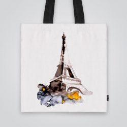 Дизайнерската чанта от плат Пейзаж с Айфеловата кула е ушита индивидуално за вас - лека, сгъваема, разпознаваема дамска чанта или удобна чанта за пазар.