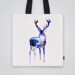 Дизайнерска чанта от плат с принт Лилав елен се шие индивидуално за вас - лека, сгъваема, разпознаваема дамска чанта или удобна чанта за пазар.