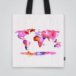 Дизайнерска чанта от плат с щампа Розова карта се шие индивидуално за вас - лека, сгъваема, разпознаваема дамска чанта или удобна чанта за пазар.