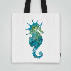 Дизайнерска чанта от плат Синьо морско конче се шие индивидуално за вас - лека, сгъваема, разпознаваема дамска чанта или удобна чанта за пазар.