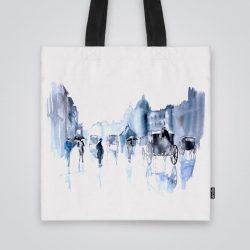 Дизайнерската чанта от плат Старият Лондон е ушита индивидуално за вас - лека, сгъваема, разпознаваема дамска чанта или удобна чанта за пазар.