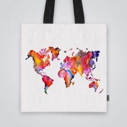 Дизайнерска чанта от плат Светът е шарен се шие индивидуално за вас - лека, сгъваема, разпознаваема дамска чанта или удобна чанта за пазар.