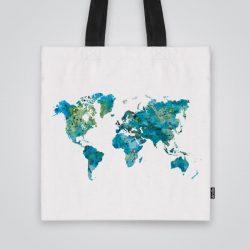 Дизайнерска чанта от плат Светло синя карта се шие индивидуално за вас - лека, сгъваема, разпознаваема дамска чанта или удобна чанта за пазар.