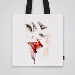 Дизайнерска чанта от плат Целувката се шие индивидуално за вас - лека, сгъваема, разпознаваема дамска чанта или удобна чанта за пазар.