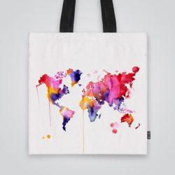 Дизайнерска чанта от плат Весел свят се шие индивидуално за вас - лека, сгъваема, разпознаваема дамска чанта или удобна чанта за пазар.