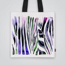 Дизайнерска чанта от плат Зеброва шарка се шие индивидуално за вас - лека, сгъваема, разпознаваема дамска чанта или удобна чанта за пазар.