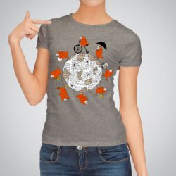 Дамска тениска Около света е изработена от висококачествен памук и последно поколение технология за печат. Цветовете са ярки и наситени, сякаш някой е рисувал върху тениската.
