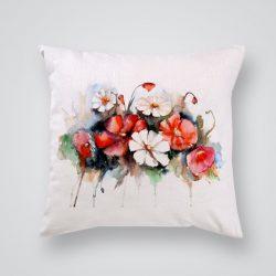 Декоративна калъфка Бели и червени цветя е изработена от качествен текстил в натурален бял цвят, с щампа от едната страна и скрит цип за лесна поддръжка. Калъфката е ушита ръчно и с грижа, печатът е безопасен, с нетоксични мастила и трайни цветове.