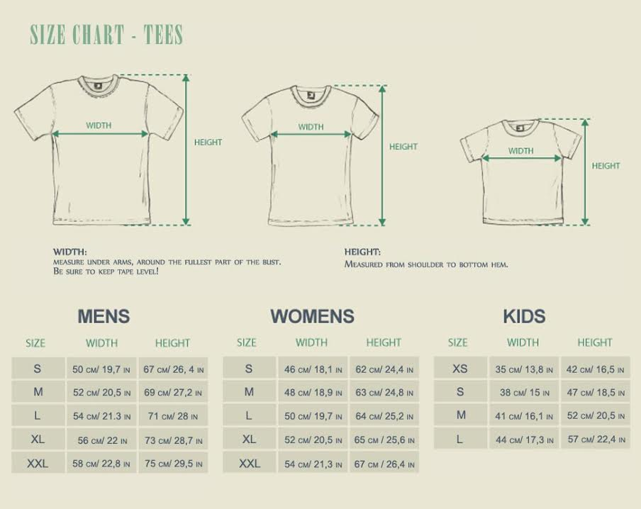 T-Shirts Size Guide