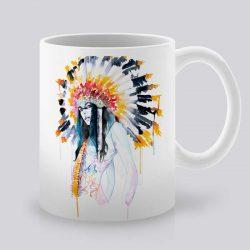Сутрешната чаша кафе или чай става още по-приятна, с дизайнерската ни керамична чаша с щампа Красива Индианка.