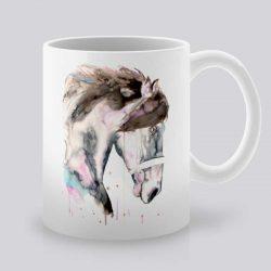 Сутрешната чаша кафе или чай става още по-приятна, с дизайнерската ни керамична чаша с щампа Глава на Кон.