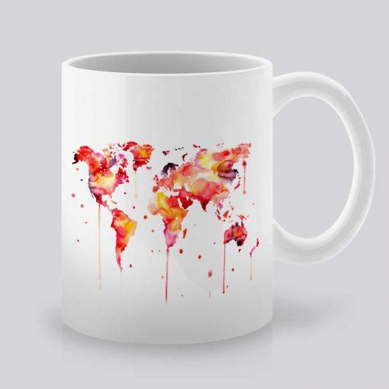 Сутрешната чаша кафе или чай става още по-приятна, с дизайнерската ни керамична чаша с щампа Карта на Континенти.
