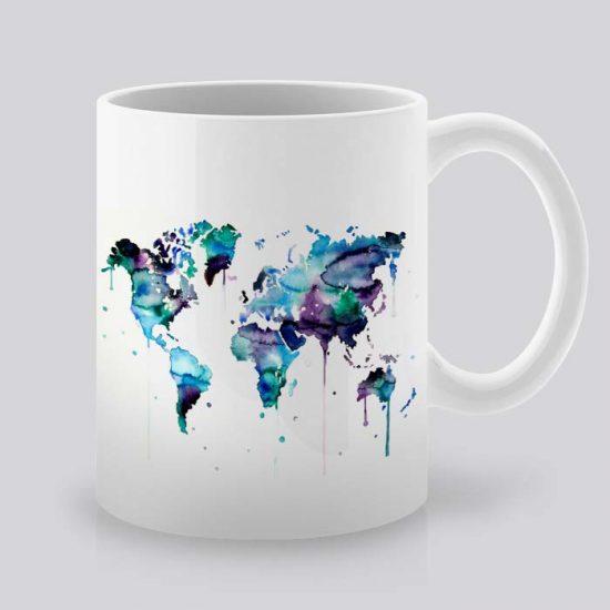 Сутрешната чаша кафе или чай става още по-приятна, с дизайнерската ни керамична чаша с щампа Карта на Света.