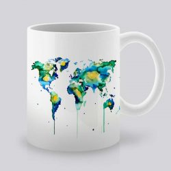 Сутрешната чаша кафе или чай става още по-приятна, с дизайнерската ни керамична чаша с щампа Континенти.