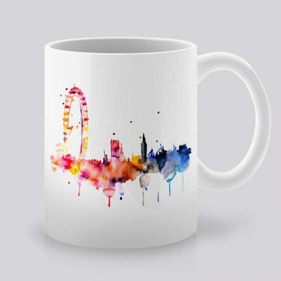 Сутрешната чаша кафе или чай става още по-приятна, с дизайнерската ни керамична чаша с щампа Окото на Лондон.