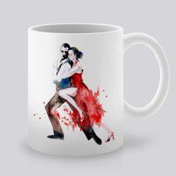 Сутрешната чаша кафе или чай става още по-приятна, с дизайнерската ни керамична чаша с щампа Танго.
