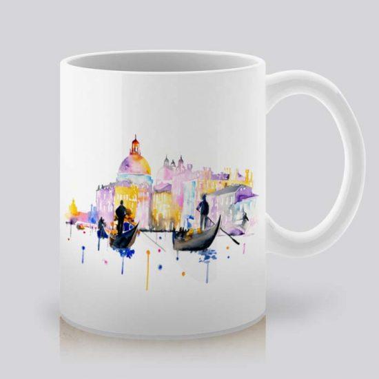 Сутрешната чаша кафе или чай става още по-приятна, с дизайнерската ни керамична чаша с щампа Венеция - Разходка с Лодка.