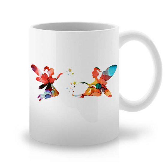 Сутрешната чаша кафе или чай става още по-приятна, с дизайнерската ни керамична чаша с щампа Две Феи.