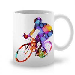 Сутрешната чаша кафе или чай става още по-приятна, с дизайнерската ни керамична чаша с щампа Колоездач.