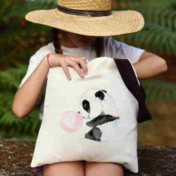 Детска чанта от плат Панда с дъвка се шие индивидуално за вас - лека, сгъваема, разпознаваема дамска чанта или удобна чанта за пазар.