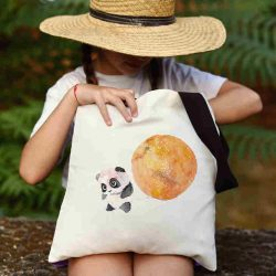 Детска чанта Малка панда се шие индивидуално за вас - лека, сгъваема, разпознаваема детска чанта или удобна чанта за пазар.