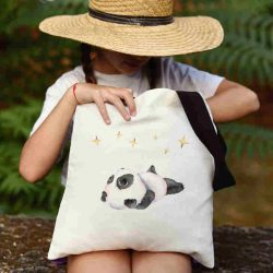 Детска чанта Панда мечтател се шие индивидуално за вас - лека, сгъваема, разпознаваема детска чанта или удобна чанта за пазар.