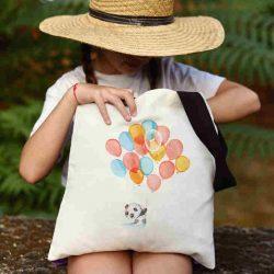 Детска чанта Панда с балони се шие индивидуално за вас - лека, сгъваема, разпознаваема детска чанта или удобна чанта за пазар.