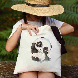 Детска чанта Здравей панда се шие индивидуално за вас - лека, сгъваема, разпознаваема детска чанта или удобна чанта за пазар.