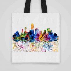 Дизайнерска чанта от плат Гледка към града се шие индивидуално за вас - лека, сгъваема, разпознаваема дамска чанта или удобна чанта за пазар.