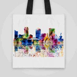 Дизайнерска чанта от плат Гледка към града 3се шие индивидуално за вас - лека, сгъваема, разпознаваема дамска чанта или удобна чанта за пазар.