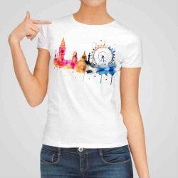 Дамска тениска Биг Бен е изработена от висококачествен памук и последно поколение технология на печат. Ярки цветове и прецизен детайл – сякаш някой е рисувал с четка и бои върху плата.