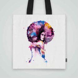Дизайнерска чанта от плат Афроамериканка се шие индивидуално за вас - лека, сгъваема, разпознаваема дамска чанта или удобна чанта за пазар.