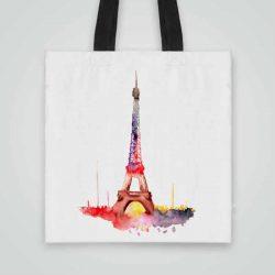 Дизайнерска Чанта от плат Айфеловата Кула се шие индивидуално за вас - лека, сгъваема, разпознаваема дамска чанта или удобна чанта за пазар.