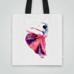 Дизайнерска Чанта от плат Балерина се шие индивидуално за вас - лека, сгъваема, разпознаваема дамска чанта или удобна чанта за пазар.