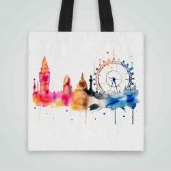 Дизайнерска чанта от плат Биг Бен се шие индивидуално за вас - лека, сгъваема, разпознаваема дамска чанта или удобна чанта за пазар.
