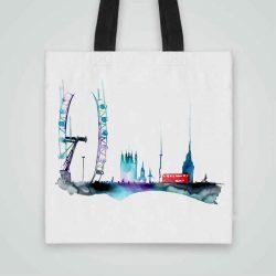 Дизайнерска чанта от плат Червен Автобус се шие индивидуално за вас - лека, сгъваема, разпознаваема дамска чанта или удобна чанта за пазар.