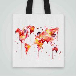 Дизайнерска чанта от плат Червена Карта на Света се шие индивидуално за вас - лека, сгъваема, разпознаваема дамска чанта или удобна чанта за пазар.