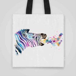 Дизайнерска чанта от плат Дъх на Зебра се шие индивидуално за вас - лека, сгъваема, разпознаваема дамска чанта или удобна чанта за пазар.