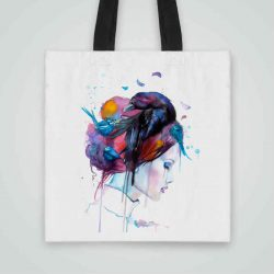 Дизайнерска чанта от плат Гарван в Косите се шие индивидуално за вас - лека, сгъваема, разпознаваема дамска чанта или удобна чанта за пазар.