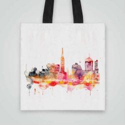 Дизайнерска чанта от плат Гледка се шие индивидуално за вас - лека, сгъваема, разпознаваема дамска чанта или удобна чанта за пазар.