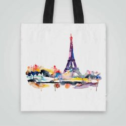 Дизайнерска чанта от плат Гледка към Айфеловата Кула се шие индивидуално за вас - лека, сгъваема, разпознаваема дамска чанта или удобна чанта за пазар.
